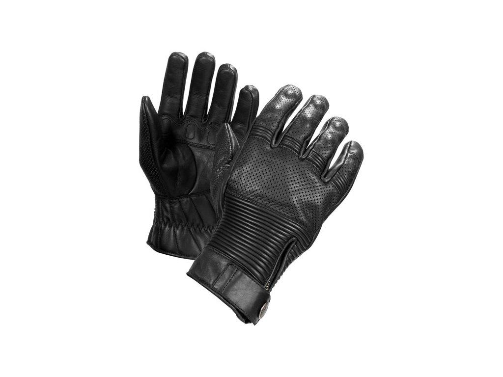 Motorkářské rukavice z hovězí kůže John Doe RUSH GLOVES BLACK v černé barvě