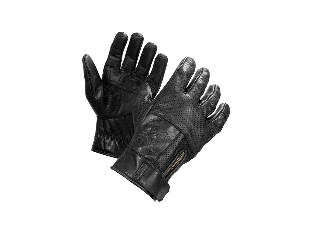 Motorkářské rukavice z hovězí kůže John Doe SHAFT GLOVES BLACK v černé barvě