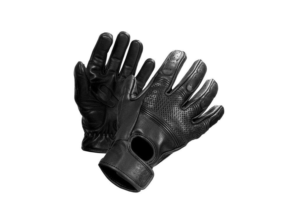 Motorkářské rukavice z hovězí kůže John Doe FRESH GLOVES BLACK v černé barvě