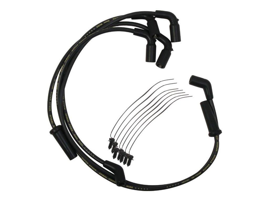Set zapalovací kabely ke svíčkám 8mm S / S spirálové jádro, černá