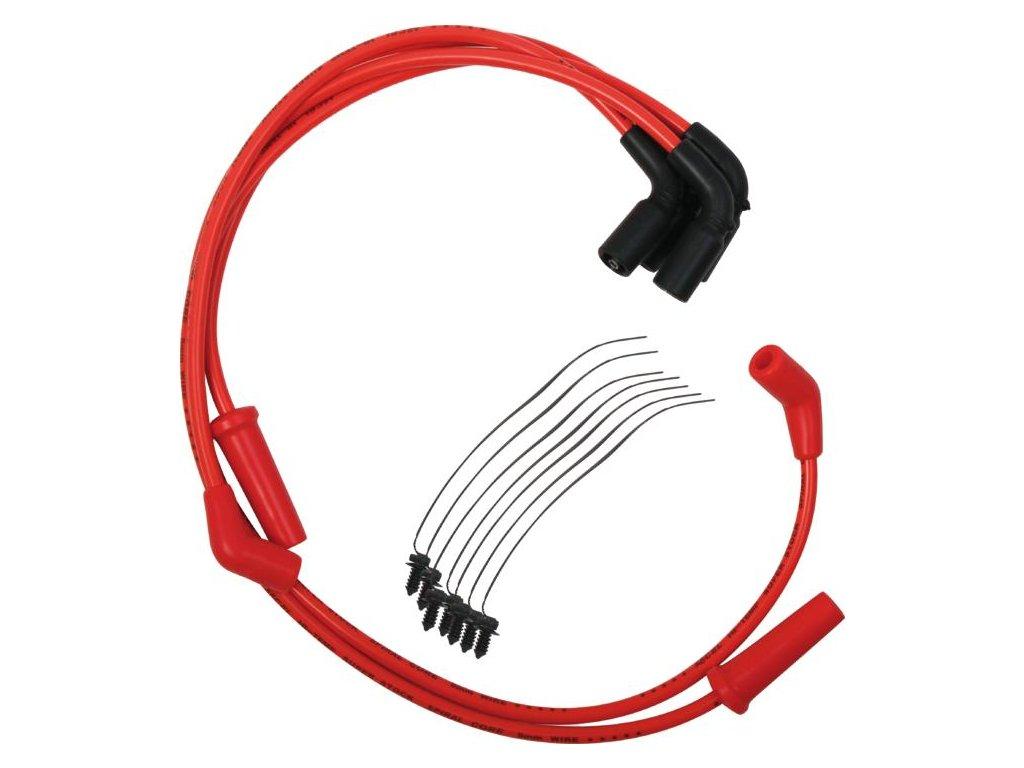 Set zapalovací kabely ke svíčkám 8mm S / S spirálové jádro, červená