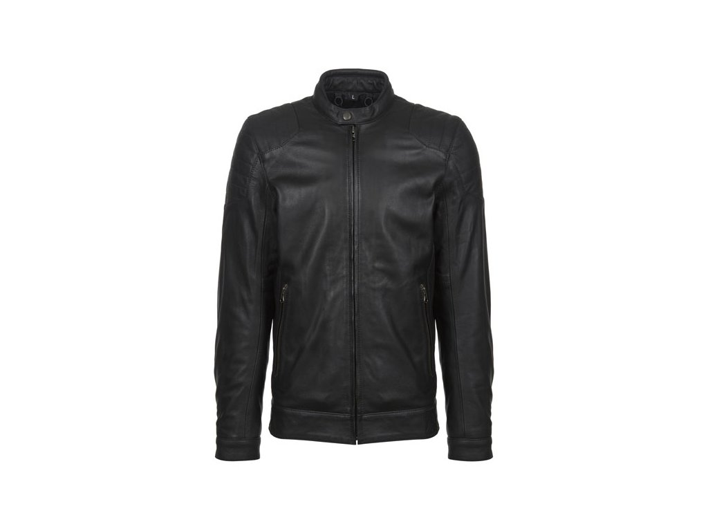 Motorkářská vodě odolná bunda z hovězí kůže John Doe ROADSTER LEATHER JACKET v černé barvě