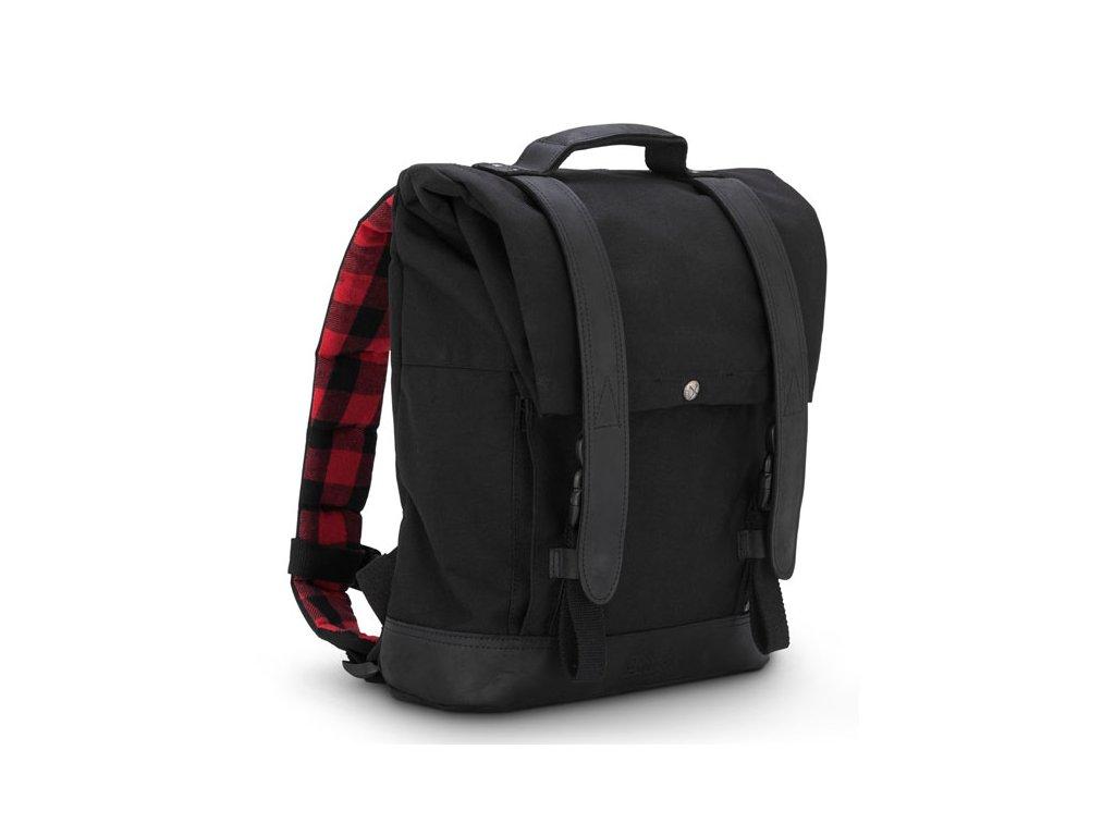 Motorkářský batoh z mokrého voskovaného UV (ošetřené bavly) Burly VOYAGER BACK PACK BLACK v černé barvě