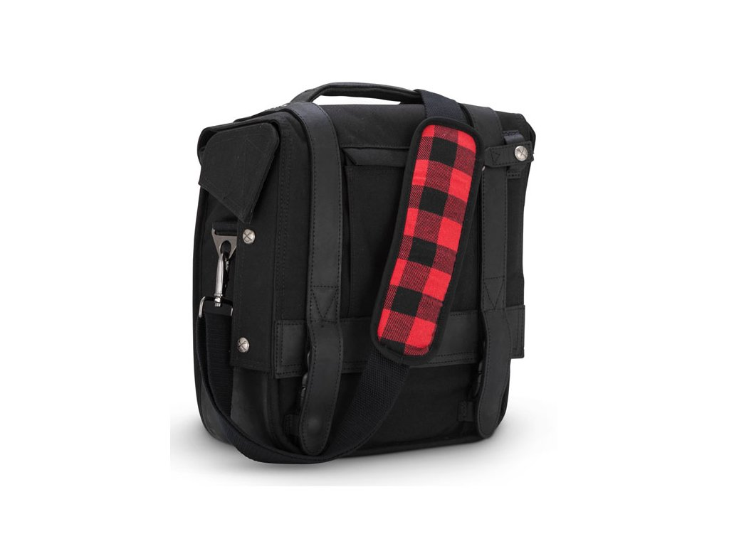 Motorkářský batoh z mokrého voskovaného UV (ošetřené bavly) Burly VOYAGER SADDLEBAG BLACK v černé barvě