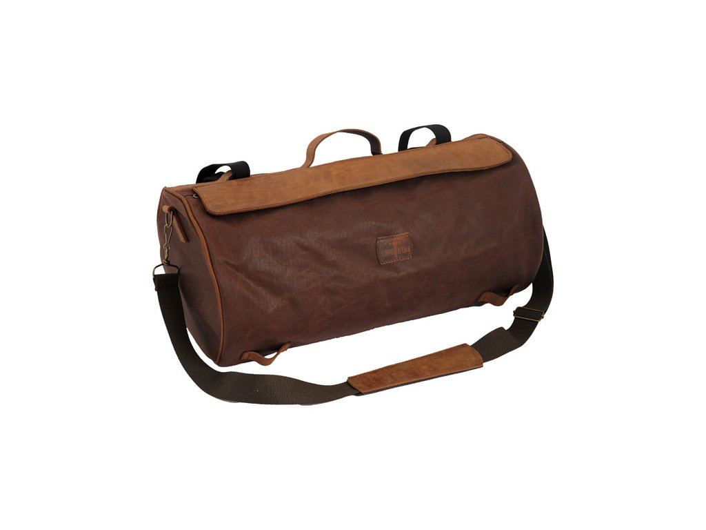 Motorkářská brašna z voskované bavlny v úžasném retro stylu LONGRIDE ROLLER BAG MARRON BROWN v hnědé barvě