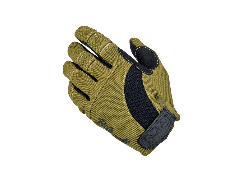 Motorkářské stylové letní rukavice z hybridní kůže a syntetického materiálu Biltwell MOTO GLOVES OLIVE/BLACK/TAN v khaki barvě