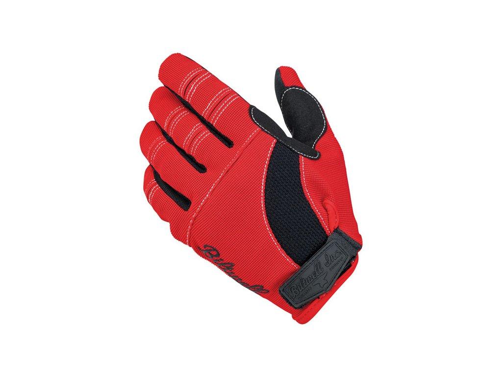 Motorkářské stylové letní rukavice z hybridní kůže a syntetického materiálu Biltwell MOTO GLOVES RED/BLACK/WHITE v červené barvě