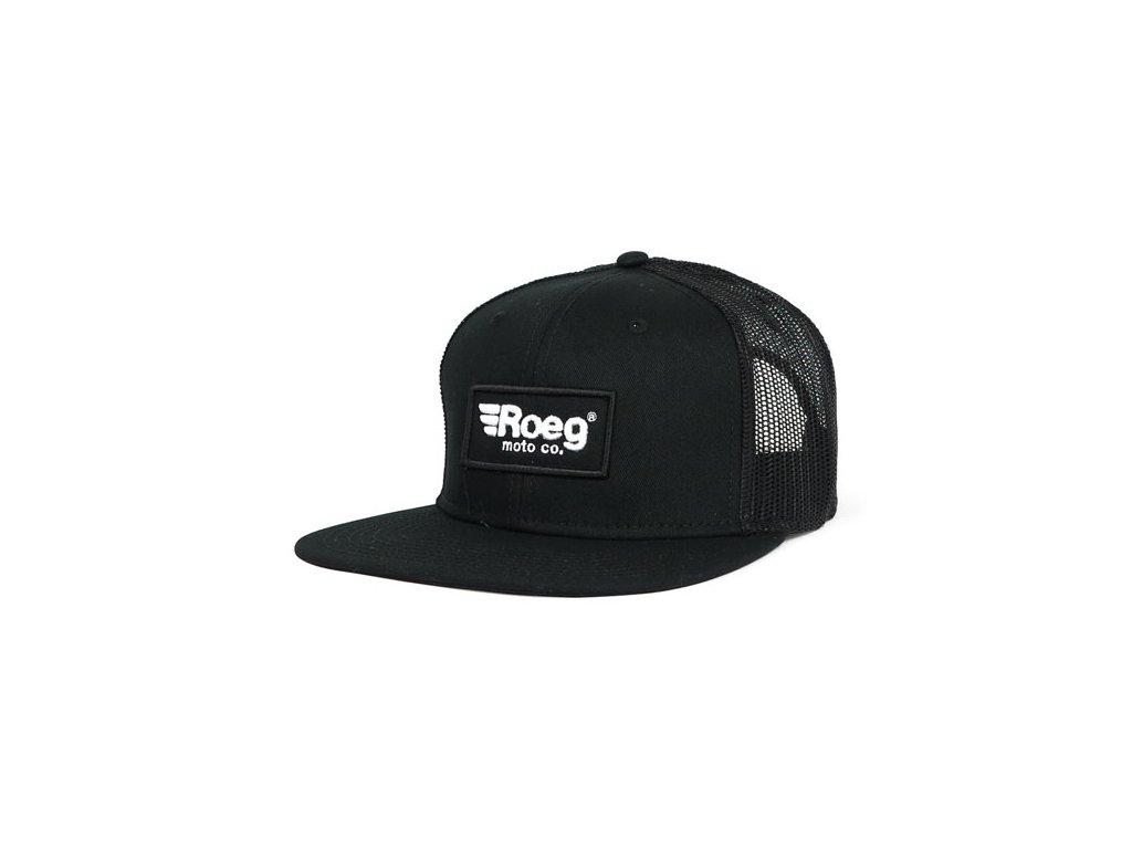 Motorkářská kšiltovka s nastavitelnou velikostí ROEG BLAKE FLAT PANEL CAP BLACK v černé barvě