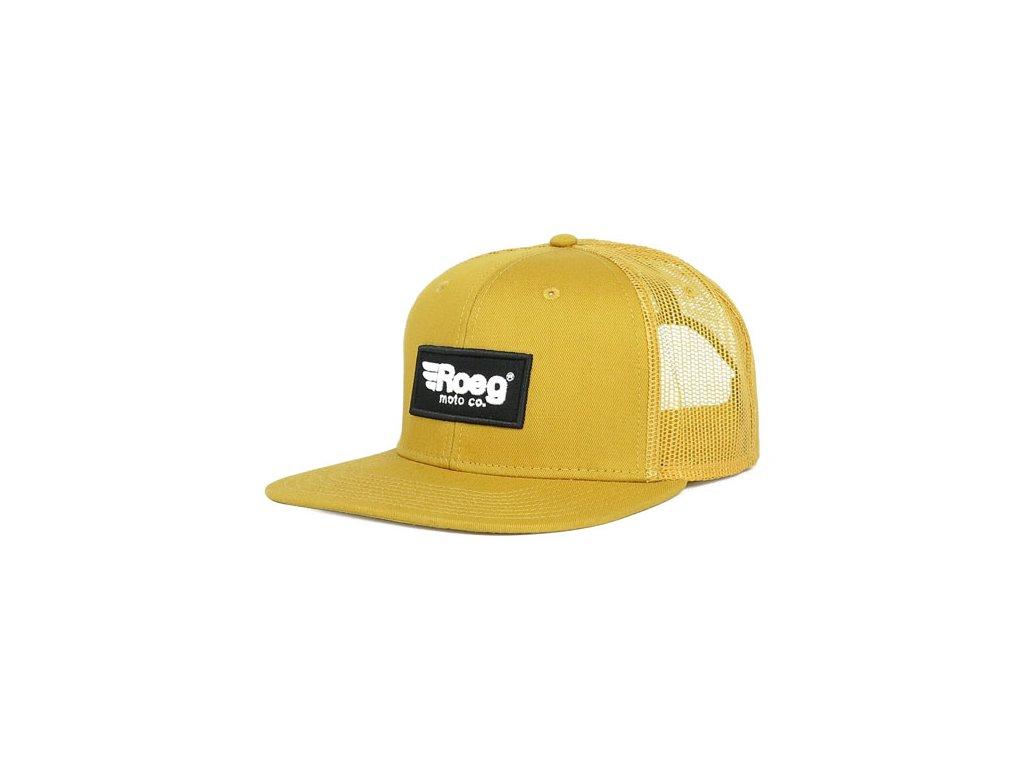Motorkářská kšiltovka s nastavitelnou velikostí ROEG BLAKE FLAT PANEL CAP CAMEL ve žluté barvě