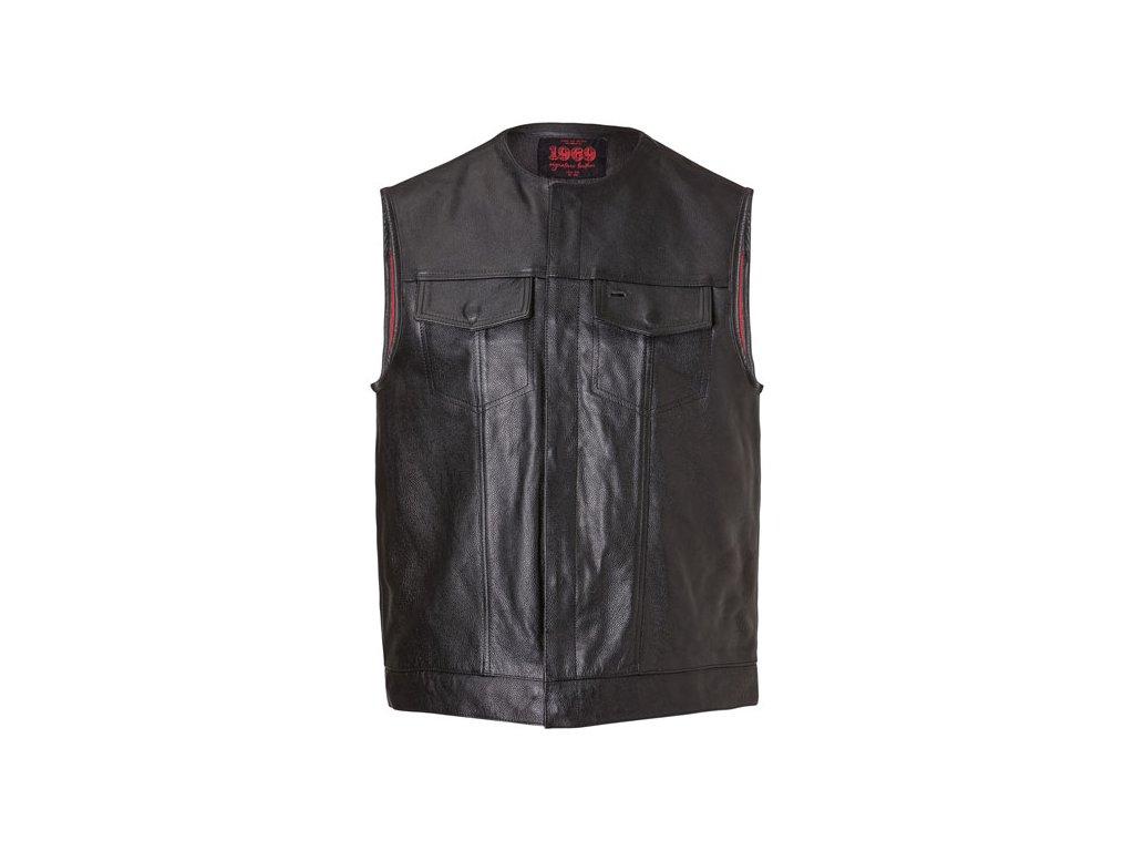 John Doe MC Outlaw kožená černá vesta, vyrobená z hovězí kůže / tloušťka 1-1,1 mm, bavlňená podšívka pro pohodlí a prodyšnost, 2 kapsy na prsou a 2 vnitřní, zapínání na zip + cvočky. TW Ryder
