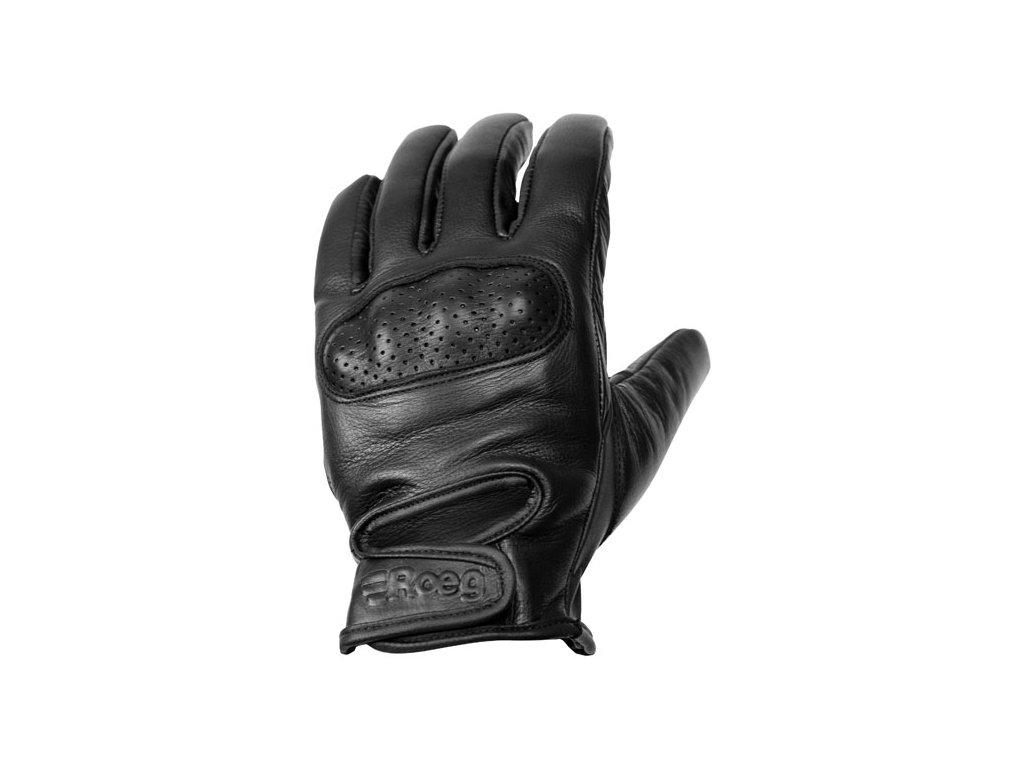 Motorkářské pohodlné rukavice z pravé hovězí kůže ROEG Butch Black v černé barvě