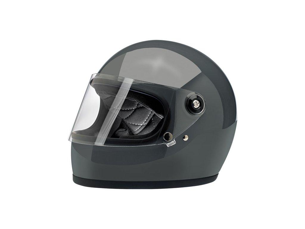 569646 gloss storm grey biltwell gringo s full face helmet uzavřená helma lesklá šedá ECE homologace tw ryder two wheels ryder