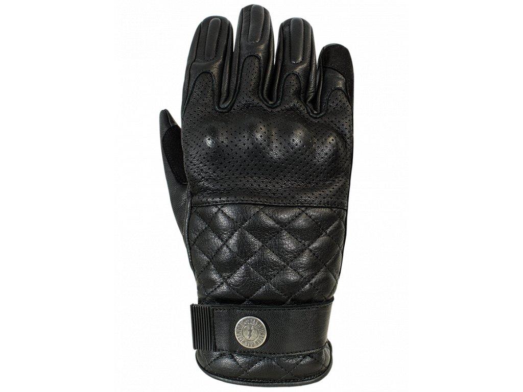 Motorkářské rukavice z přírodní prodyšné hovězí kůže John Doe TRACKER BLACK v černé barvě