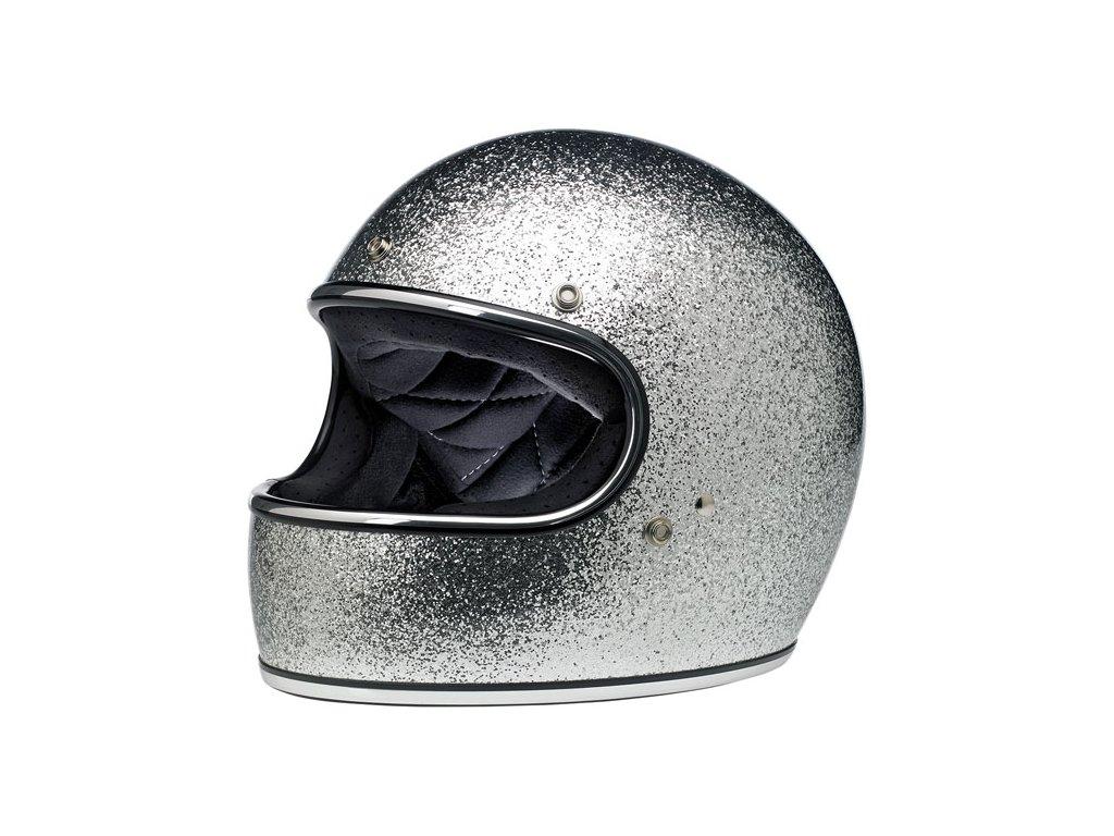569574 Biltwell Gringo full face helmet uzavřená helma silver megaflake střírná třpytkatá ECE homologace www.twryder.cz