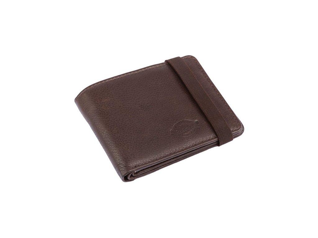 Hnědá pánská pěněženka Dickies Wilburn vyrobená ze 100% hovězí kůže. Elastická uzavírací spona, přihrádky na bankovky a karty, jedna průhledná, kapsa na drobné na zip. Velikost 11 x 8,5 cm. TW Ryder