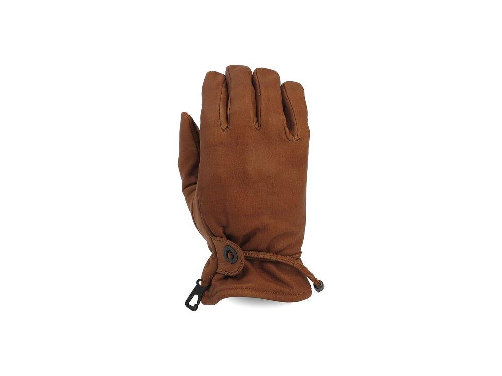Motorkářské pohodlné rukavice z pravé kůže MCS BROWN v hnědé barvě