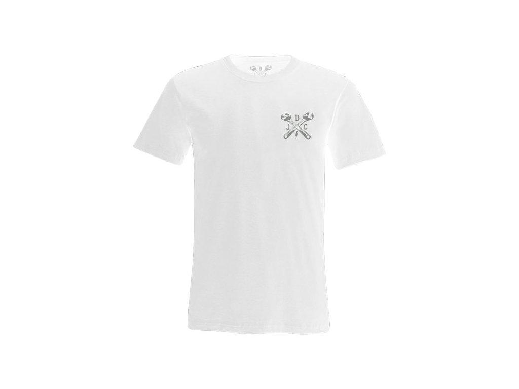 Motorkářské bavlněné triko s potiskem John Doe Classic t-shirt v bílé barvě