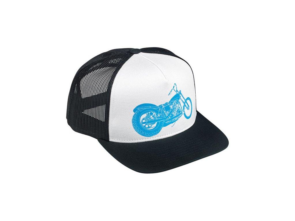 Motorkářská kšiltovka s nastavitelnou velikostí Biltwell Swingarm Trucker Hat v černo-bílé barvě