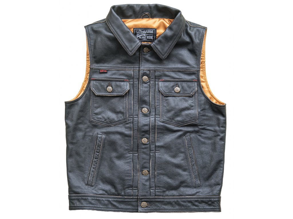 Blood Moon Leather Vest Front Closed