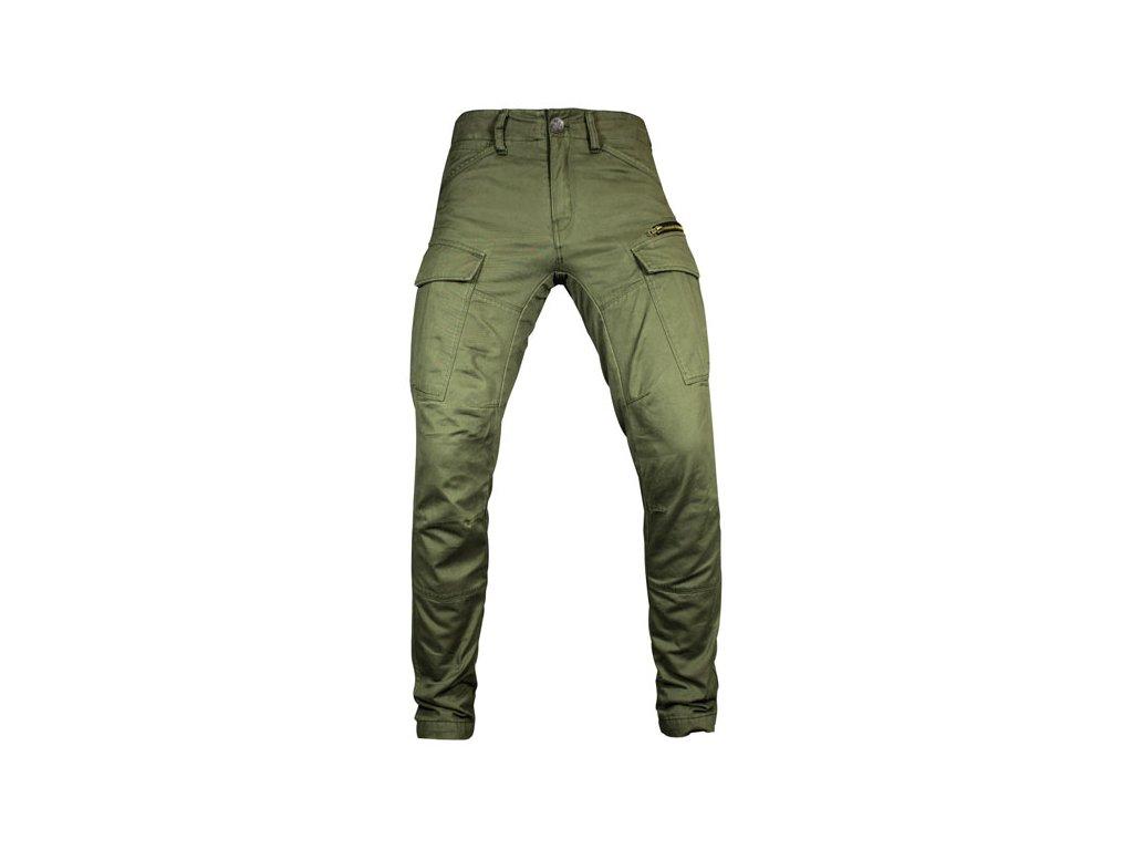 Motorkářské bavlněné kalhoty s kevlarovými vrstvami John Doe STROKER OLIVE v khaki barvě