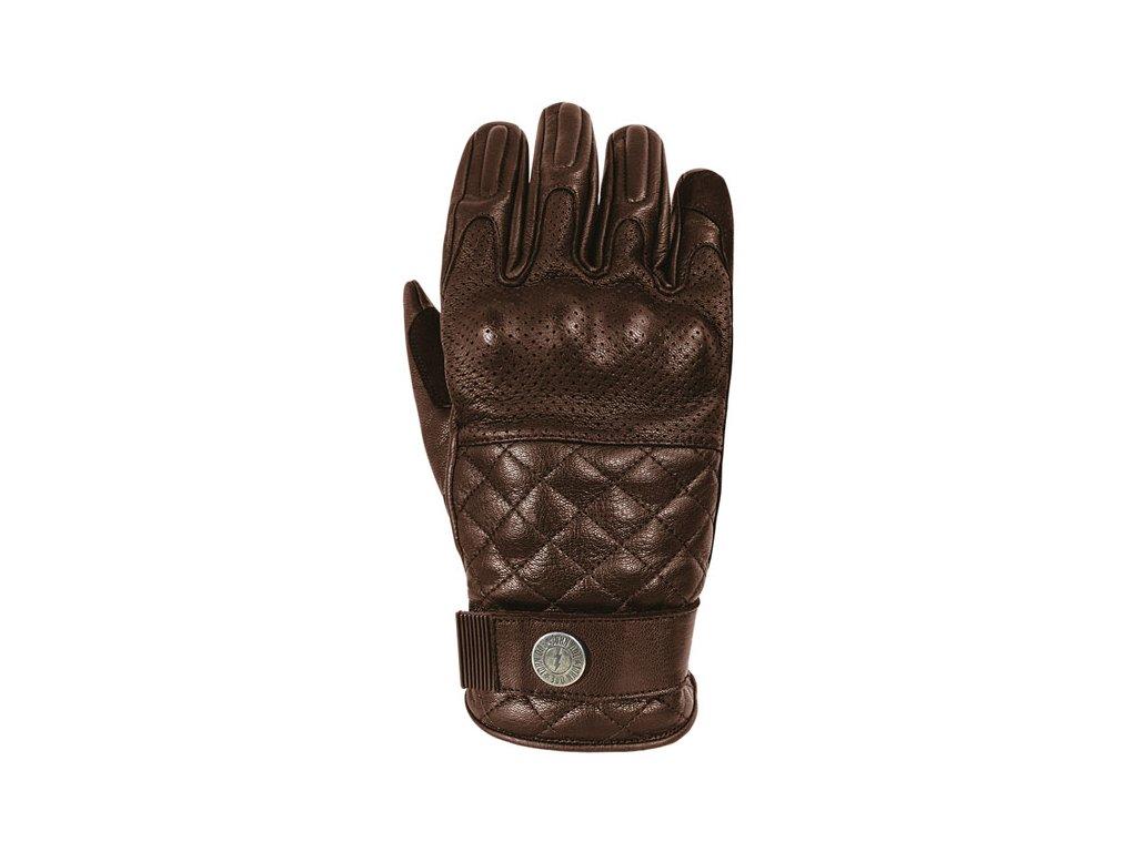 Motorkářské rukavice z přírodní prodyšné hovězí kůže John Doe TRACKER BROWN v hnědé barvě