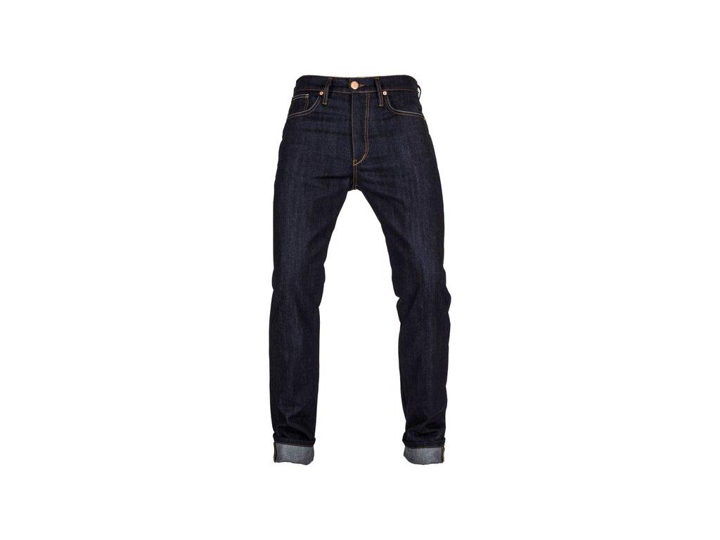 Motorkářské vodě odolné kevlarové kalhoty John Doe IRONHEAD RAW  v tmavě modré barvě