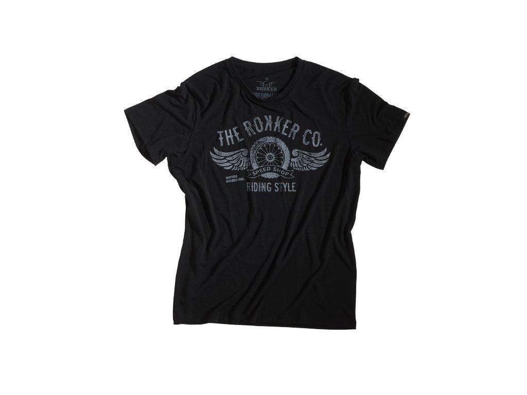 Motorkářské kvalitní triko s potiskem ROKKER PERFORMANCE RIDING STYLE TEE v černé barvě
