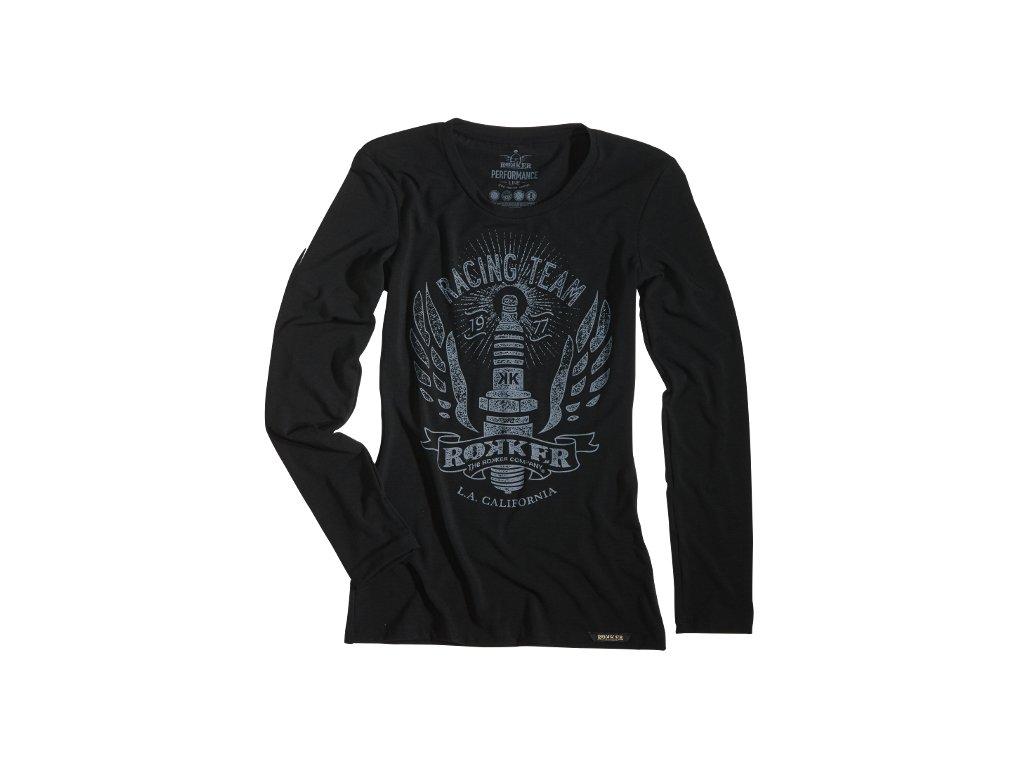 Motorkářské kvalitní triko s dlouhým rukávem a potiskem ROKKER PERFORMANCE RACING TEAM TEE v černé barvě