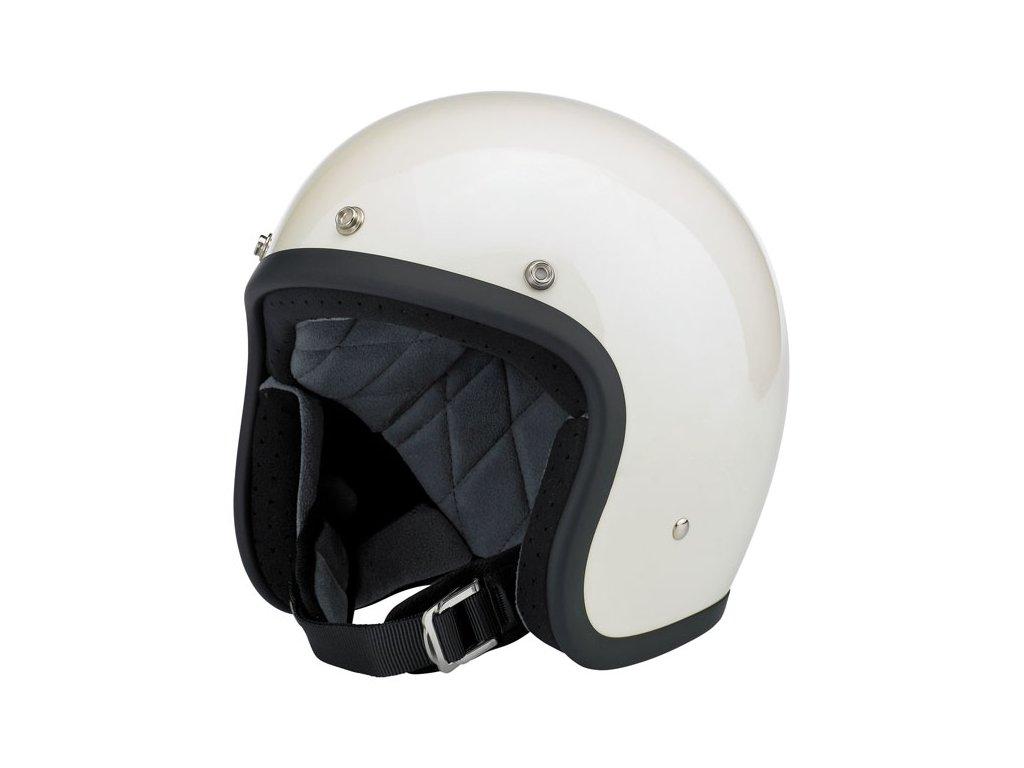 Motorkářská lehká otevřená helma Biltwell BONANZA GLOSS VINTAGE WHITE v bílé lesklé barvě