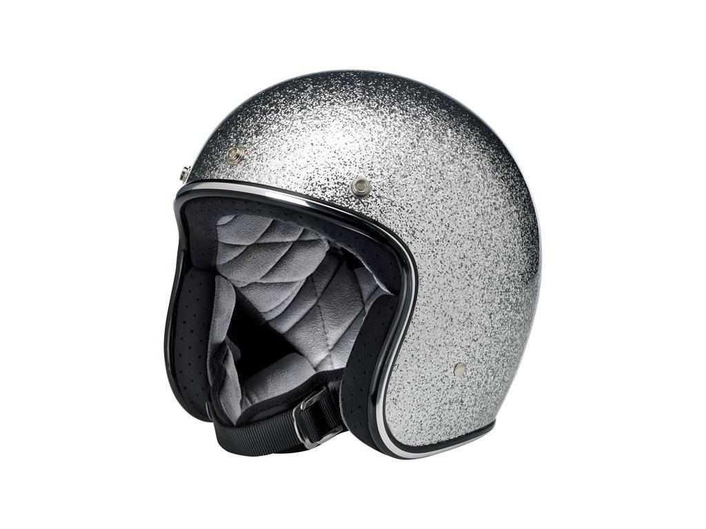 Motorkářská lehká otevřená helma Biltwell BONANZA BRITE SILVER MEGAFLAKE ve stříbrné barvě