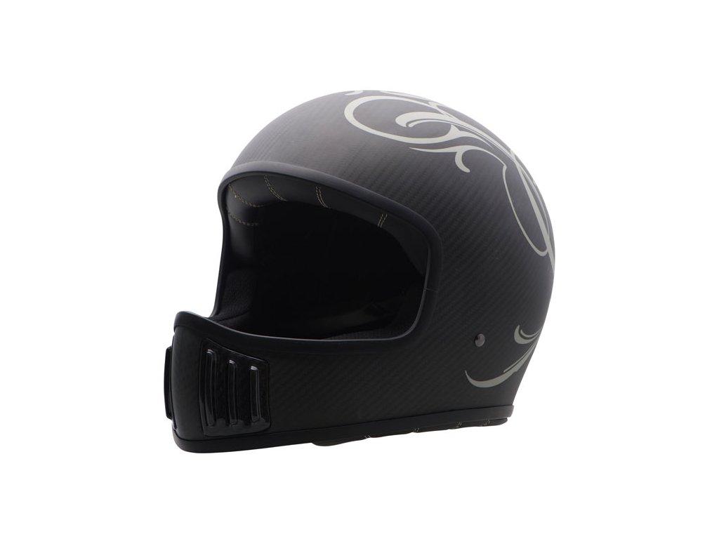 Motorkářská karbonová lehká integrální helma (přilba) ROUGH CRAFTS CENTER ROOTS v matné černé barvě
