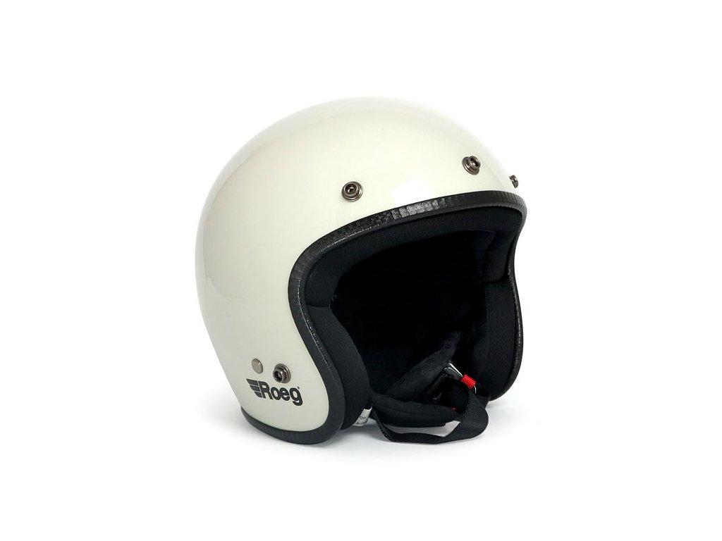 Motorkářská otevřená helma (přilba) Roeg JETT Fog White v bílé barvě
