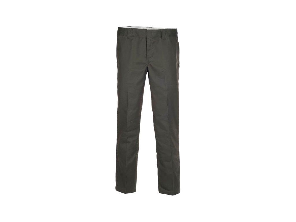 Motorkářské kalhoty (džíny) s nižším pasem a užším střihem Dickies 873 SLIM STRAIGHT WORK PANT OLIVE GREEN v tmavě zelené barvě
