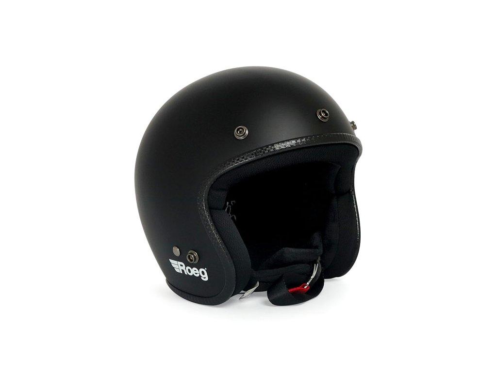 Motorkářská otevřená helma (přilba) Roeg JETT Matte Black v černé barvě