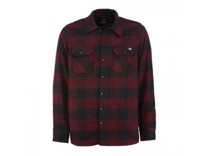 Motorkářská flanelová košile s dlouhým rukávem a motivem kostky Dickies SACRAMENTO MAROON v černo-červené barvě