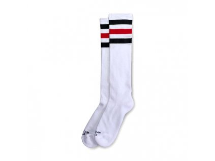 Motorkářské bavlněné vysoké nadkolenky American Socks v bílé barvě s tmavě modrým a červeným pruhem