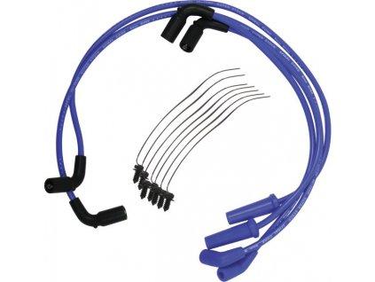 Set zapalovací kabely ke svíčkám 8mm S / S spirálové jádro, modrá
