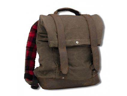 Motorkářský batoh z mokrého voskovaného UV (ošetřené bavly) Burly VOYAGER BACK PACK DARK OAK v šedé barvě