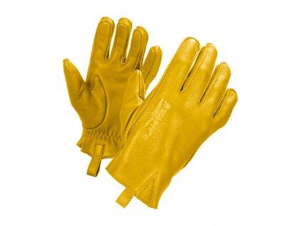 Motorkářské rukavice z hovězí kůže John Doe IRONHEAD GLOVES YELLOW ve žluté barvě