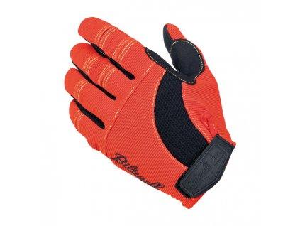 Motorkářské stylové letní rukavice z hybridní kůže a syntetického materiálu Biltwell MOTO GLOVES ORANGE/BLACK/YELLOW v červené barvě