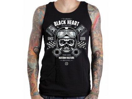 Pánské Tílko BLACK HEART PISTON SKULL (Velikost M, Barva Černá)