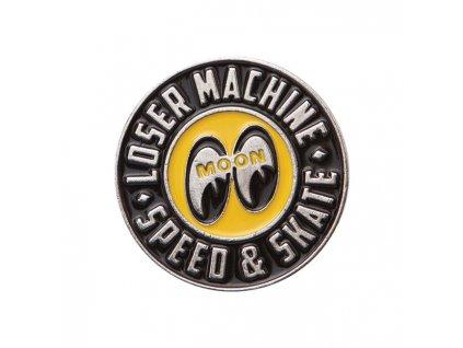 Odznáček Loser Machine a Mooneyes, vyrobeno z lehké slitiny, smaltovaný povrch. TW Ryder