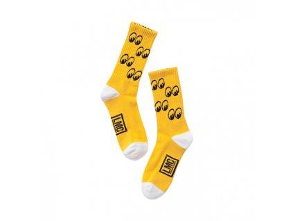 Jacquard logo ponožky žluté; vyztužené chodidlo; 85% bavlna / 15% spandex; středně vysoké. TW Ryder