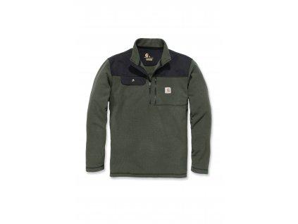 Mikina Carhartt zelená Fallon Half-zip Sweatshirt (Velikost L)