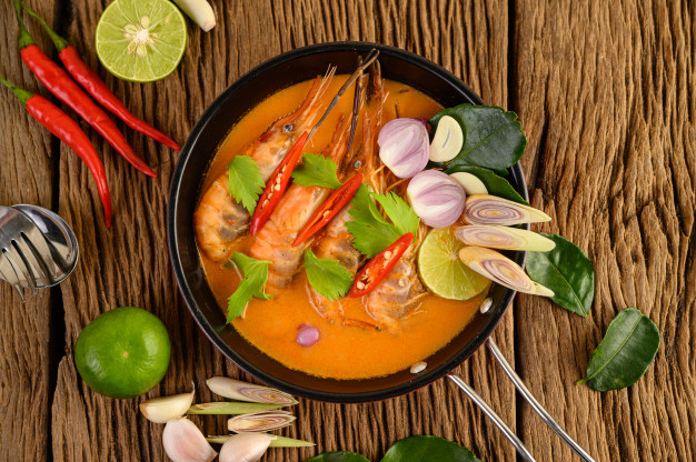 Tom Yum Goong - Autentická polévka Tom Yum s krevetami