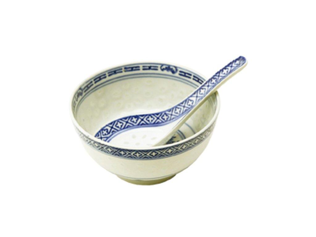 miska s lzickou ryzovy porcelan 11cm modra