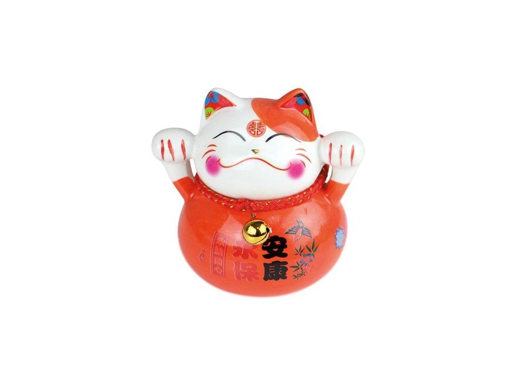 Kočka zdraví a štěstí 10 cm červená - ručně malovaná