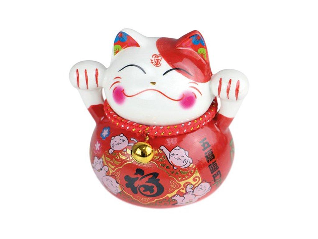 Kočka štěstí červená 10 cm - ručně malovaná