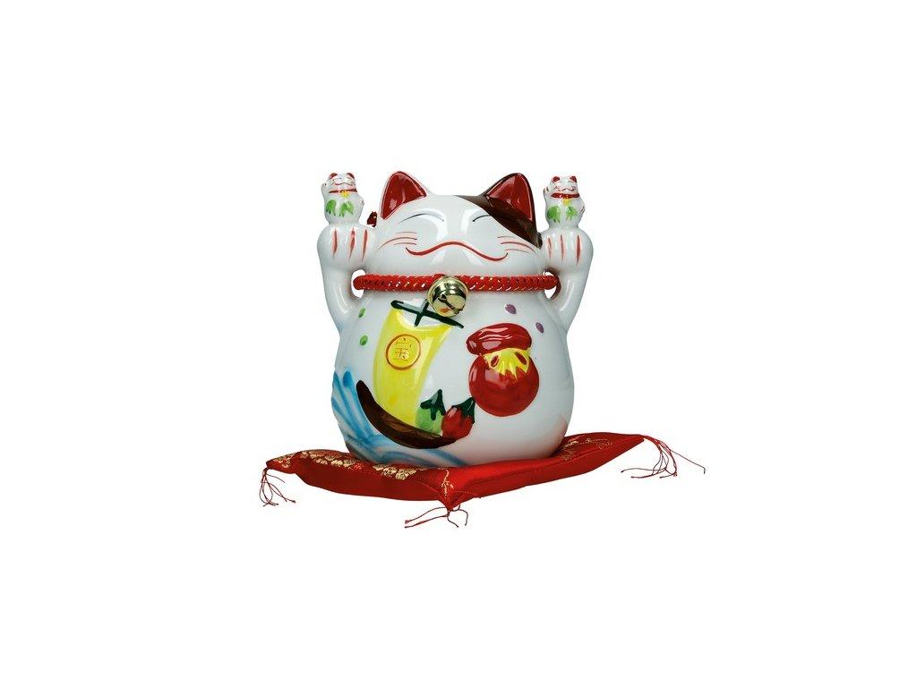 Kočka štěstí bílá 13 cm