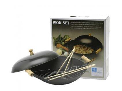 wok litinovy s drevenymi rukojetmi 35 cm